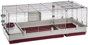 Large guinea pig cage with a red-white plastic bottom