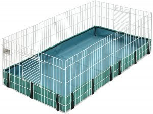 MidWest guinea pig cage with a green canvas bottom