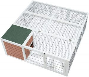 White painted wooden guinea pig outdoor hutch