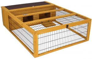 Wooden guinea pit cage with metal wire panels and a house