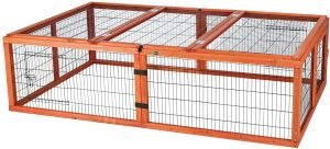 Wooden guinea pig cage with metal bars
