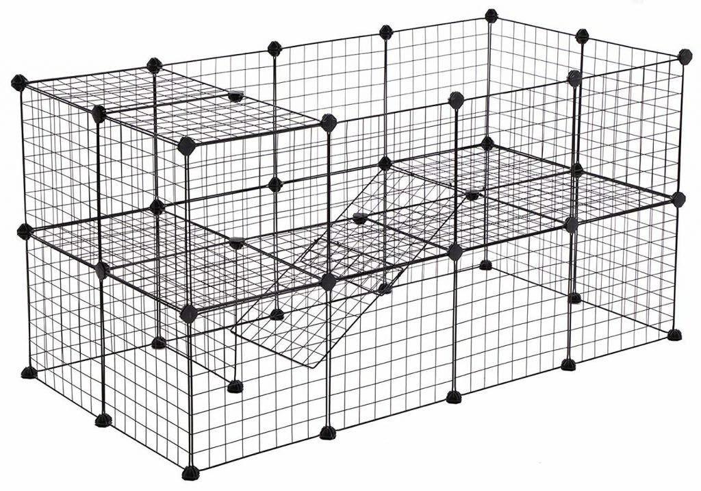 Black metal wire guinea pig cage