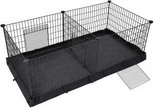 Metal wire sheet cage with a black canvas bottom