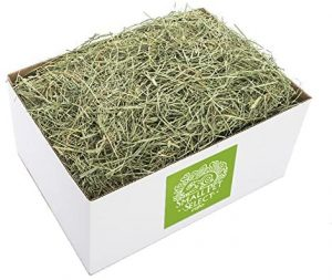 White cardboard box of fresh Timothy hay