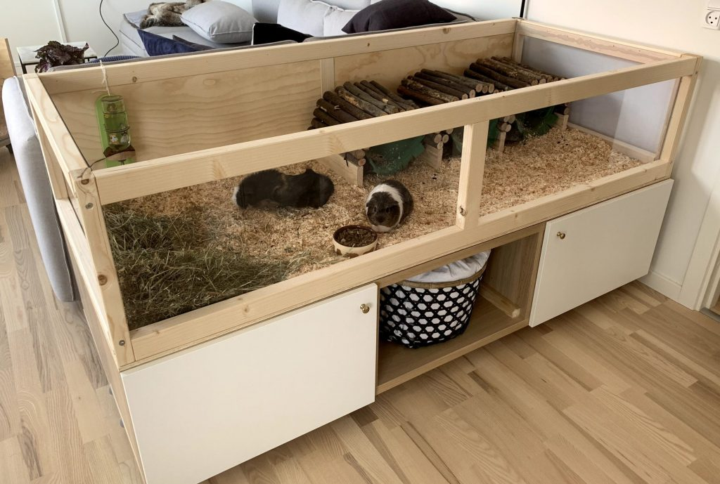 Large homemade, wooden guinea pig cage