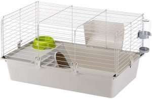 Compact guinea pig travel cage with a house, bottle, bowl, and hay rack
