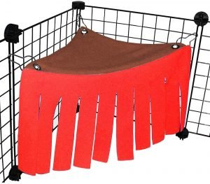 Corner hideout for guinea pigs in red-brown colors