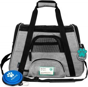 Premium guinea pig travel carrier in black and grey colors