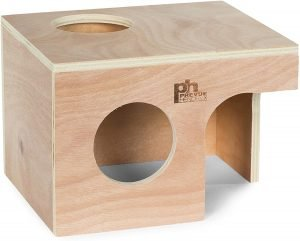Wooden guinea pig house with a window