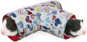 Small guinea pig tunnel with a red interior and cute exterior pet patterns