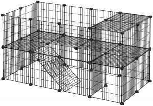 SONGMICS Pet Playpen black metal wire sheet guinea pig cage