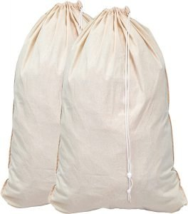Cotton laundry bags for hay storage